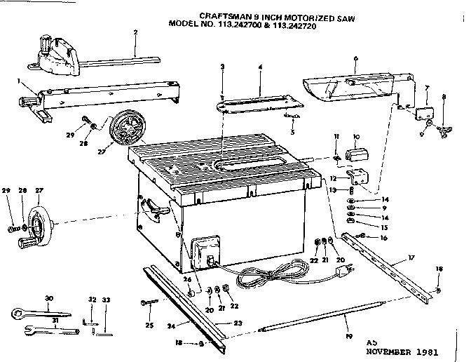 Craftsman model 113242720 saw table genuine parts