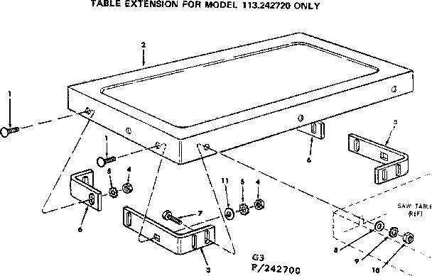 Craftsman model 113242720 table saw genuine parts