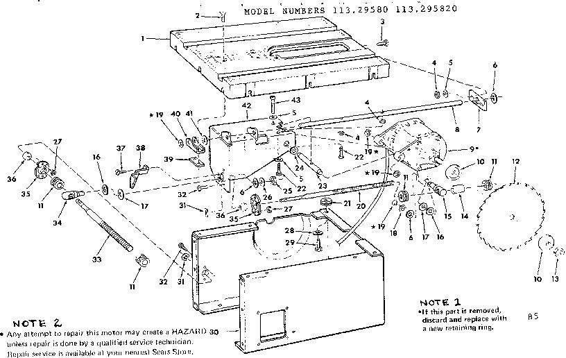 Craftsman model 113295820 table saw genuine parts
