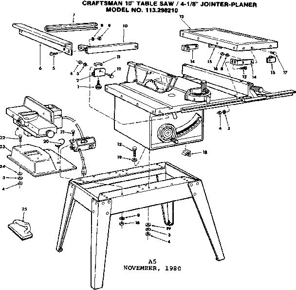Craftsman model 113298210 table saw genuine parts
