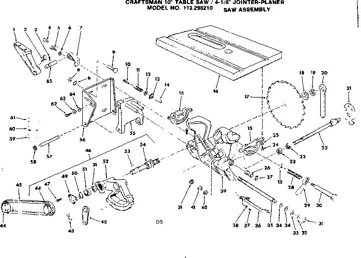 Craftsman model 113298210 saw table genuine parts