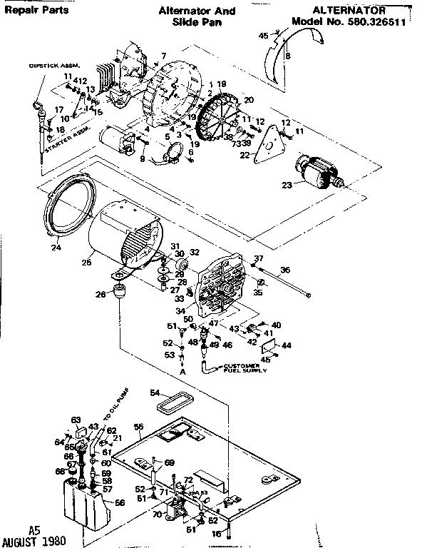 Craftsman model 580326511 generator genuine parts