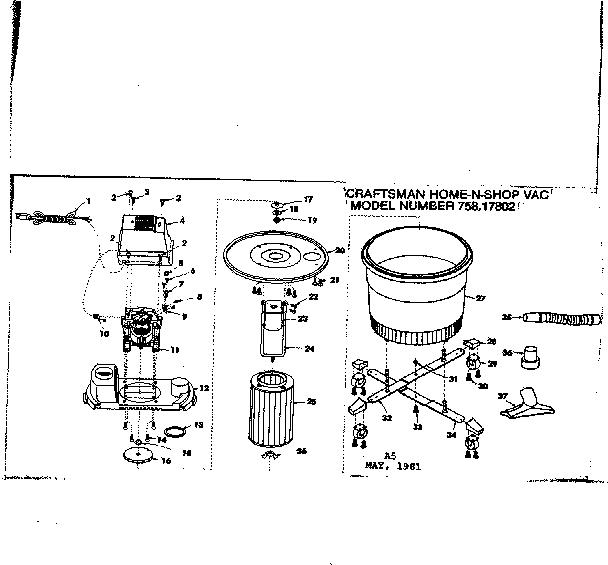 Craftsman model 75817802 wet/dry vacuum genuine parts