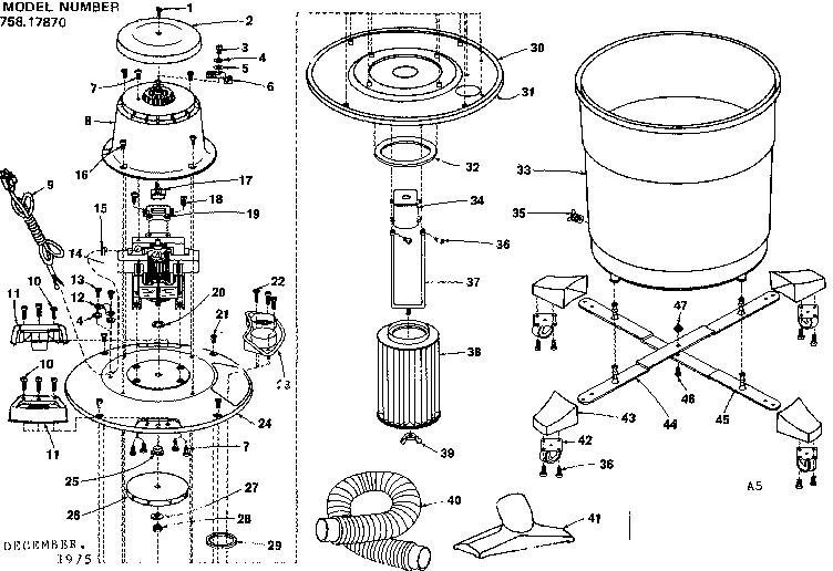 Craftsman model 75817870 wet/dry vacuum genuine parts