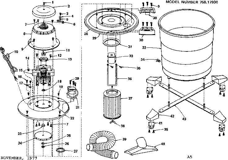 Craftsman model 75817930 wet/dry vacuum genuine parts