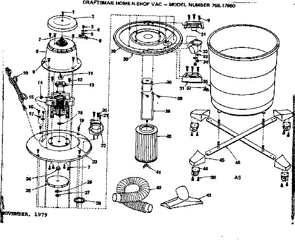 Craftsman model 75817960 wet/dry vacuum genuine parts