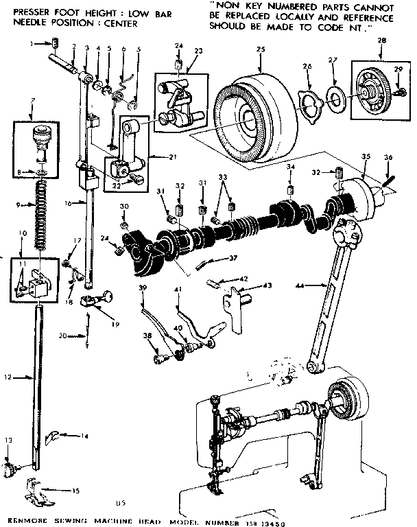 Kenmore model 15813450 sewing genuine parts