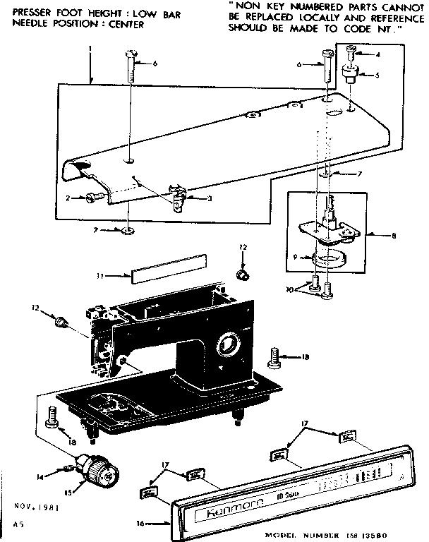 Kenmore model 15813580 sewing genuine parts
