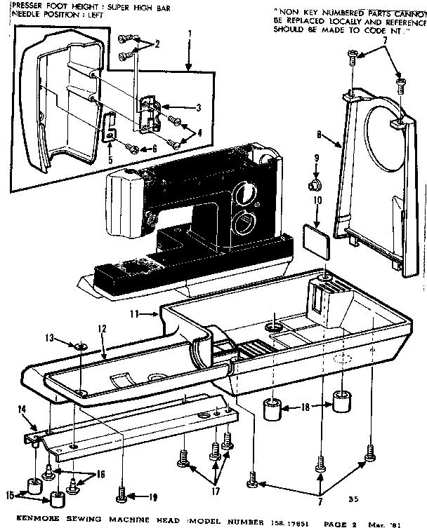 Kenmore model 15817851 mechanical sewing machines genuine