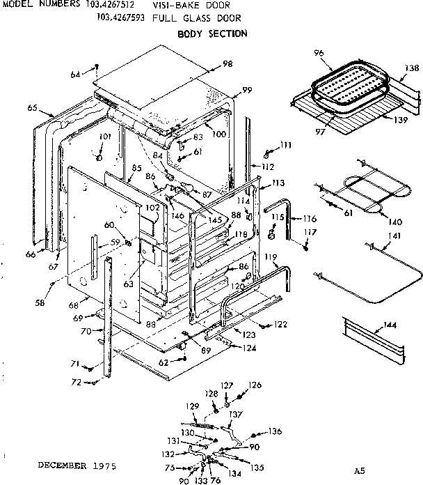 Kenmore model 1034267593 ranges, electric genuine parts