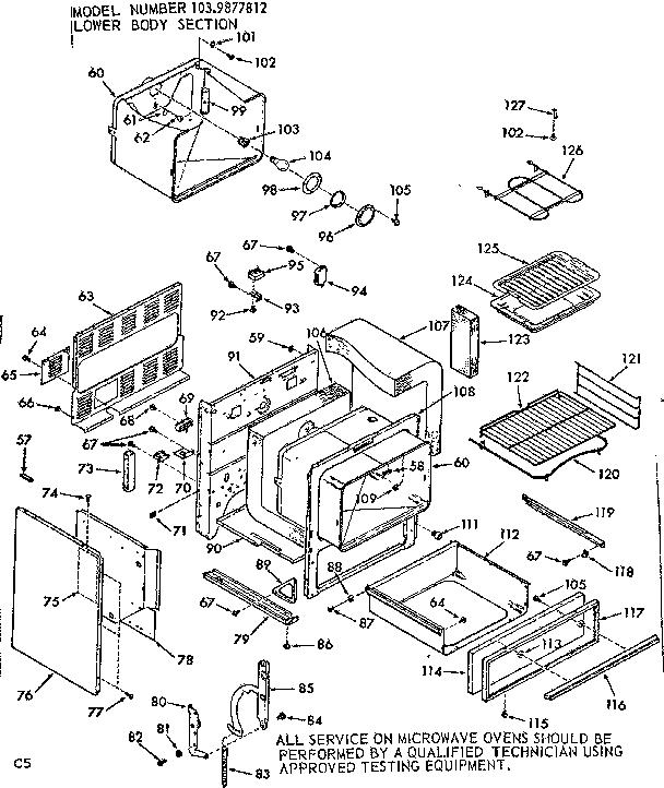 Kenmore model 1039877812 countertop microwave genuine parts