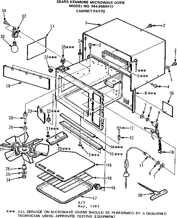 Kenmore model 5648888410 countertop microwave genuine parts