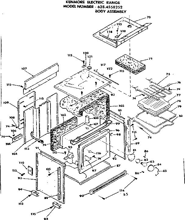 Kenmore model 6284558252 ranges, electric genuine parts