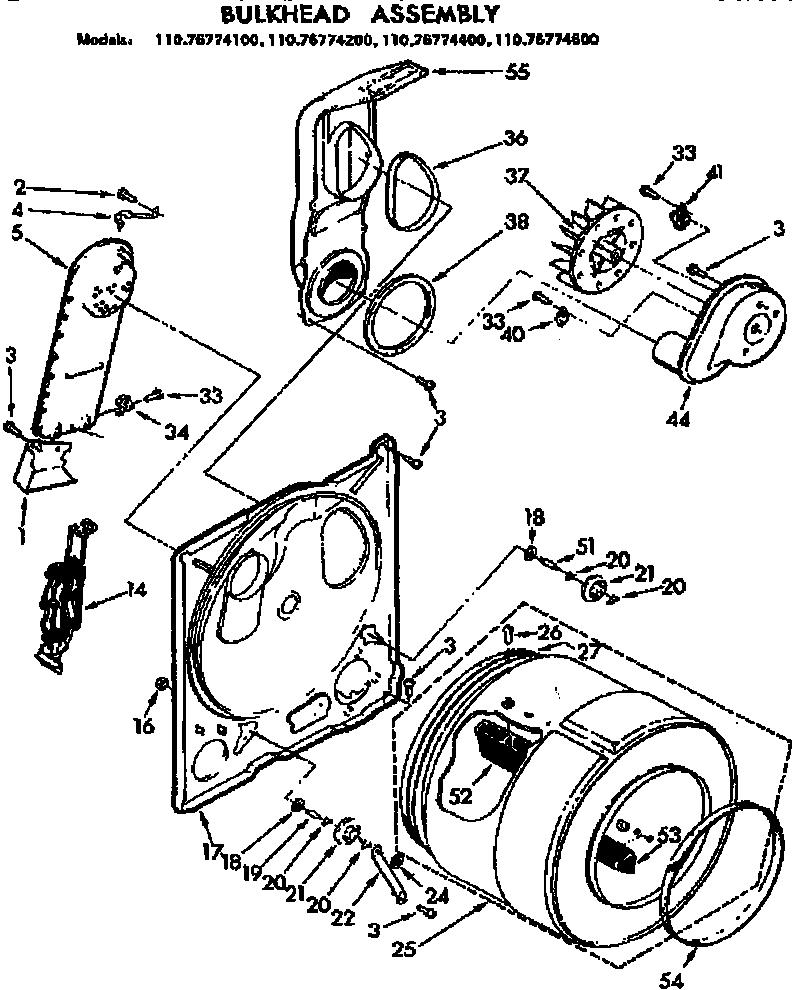 Kenmore model 11076774600 residential dryer genuine parts