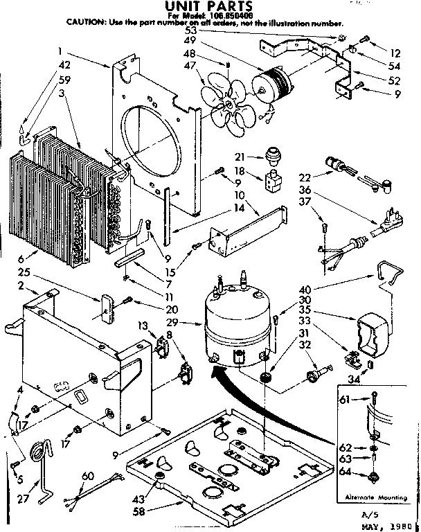 Kenmore model 106850400 dehumidifier genuine parts