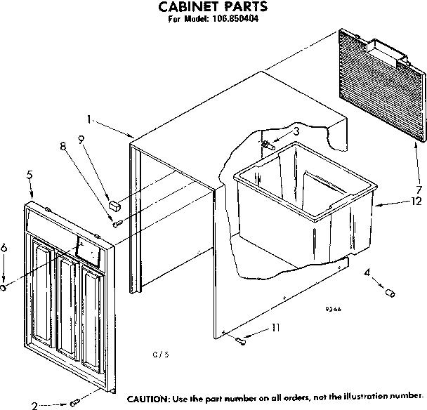 Kenmore model 106850404 dehumidifier genuine parts