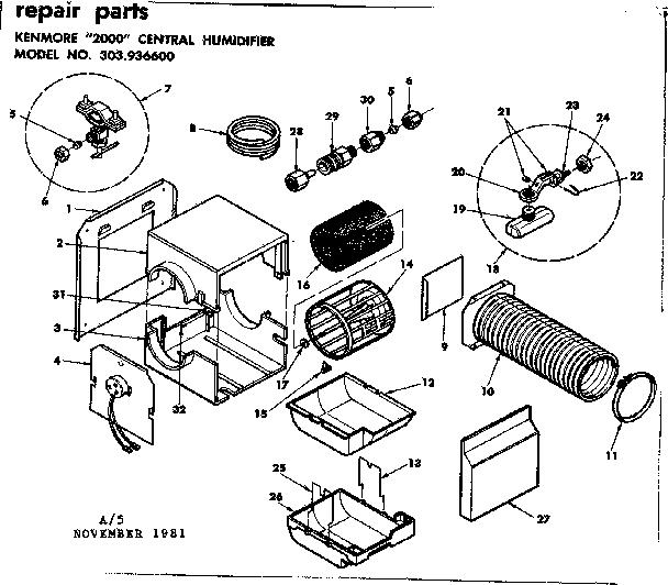 Kenmore model 303936600 humidifier genuine parts