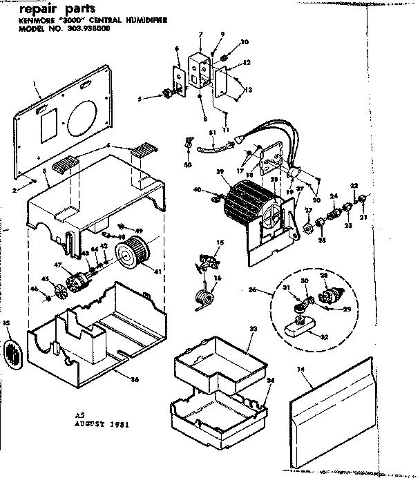 Kenmore model 303938000 humidifier genuine parts