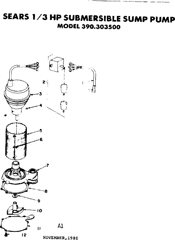 Craftsman model 390303500 sump pump genuine parts