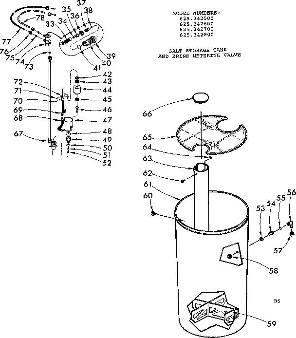 Kenmore model 625342500 water softener genuine parts