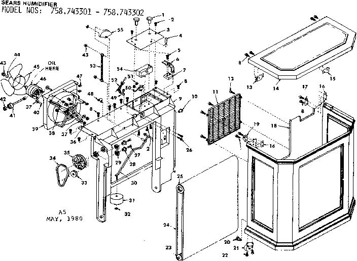 Kenmore model 758743302 humidifier genuine parts