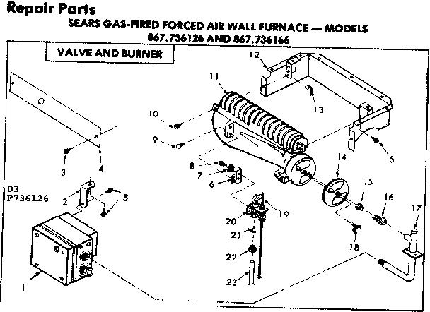 Kenmore model 867736126 furnace/heater, gas genuine parts
