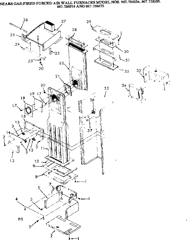 Kenmore model 867736334 furnace/heater, gas genuine parts