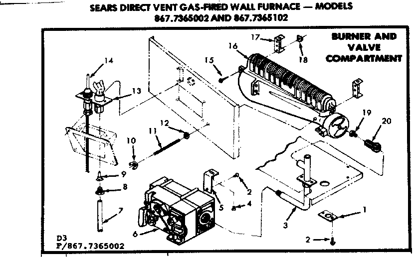 KENMORE SEARS DIRECT VENT GAS-FIRED WALL FURNACE Parts