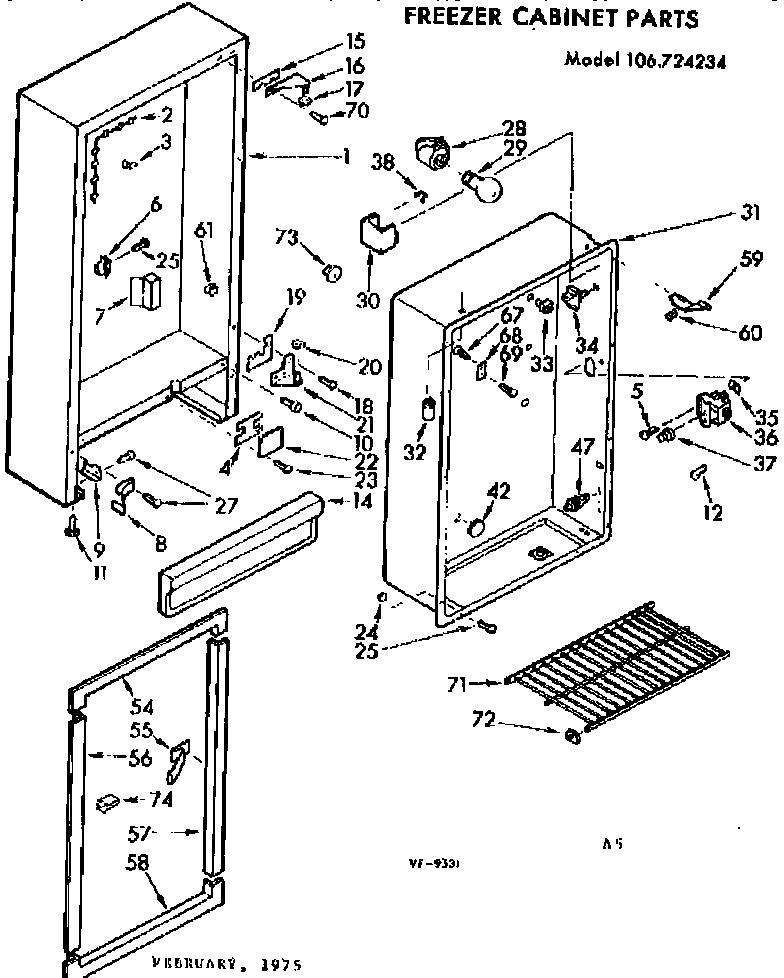Kenmore model 106724234 upright freezer genuine parts