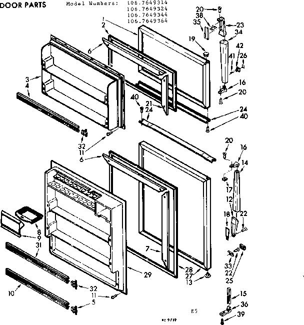 Kenmore model 1067649314 refrigerators-misc genuine parts