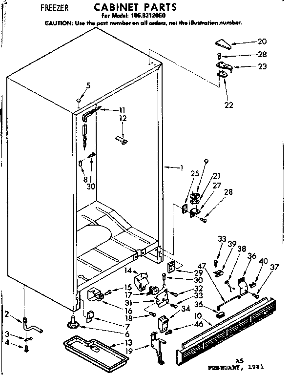Kenmore model 1068312050 upright freezer genuine parts