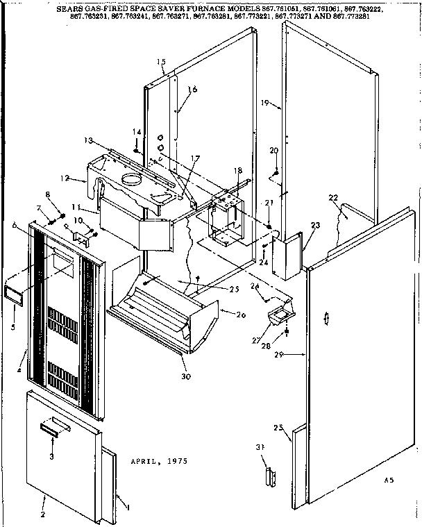 Kenmore model 867773271 furnace/heater, gas genuine parts