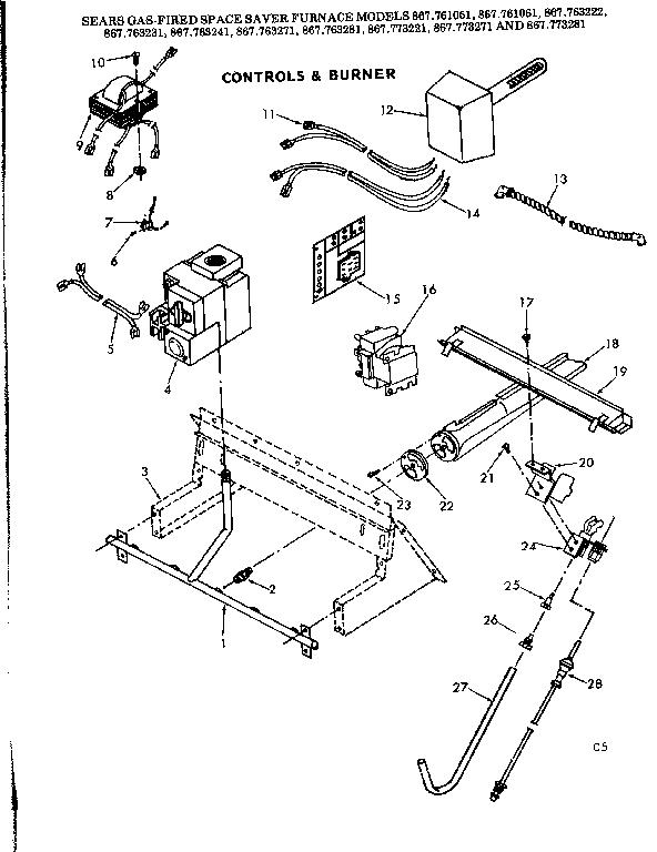 Kenmore model 867763281 furnace/heater, gas genuine parts