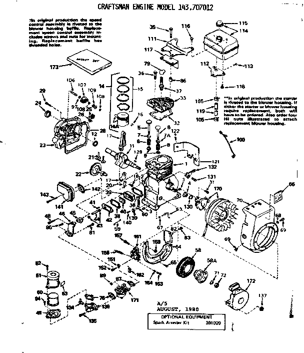 Craftsman model 143707012 engine genuine parts