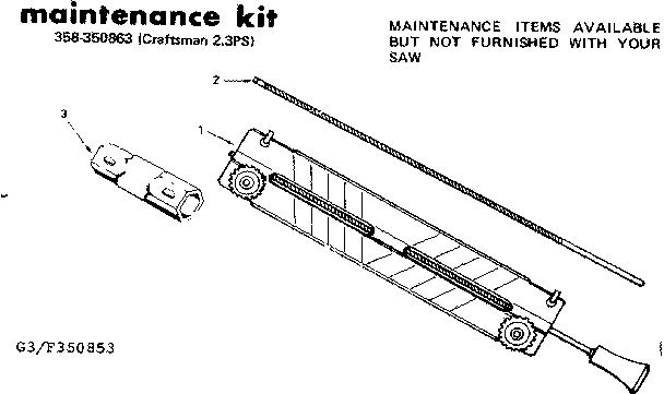 Craftsman model 358350863 chainsaw, gas genuine parts