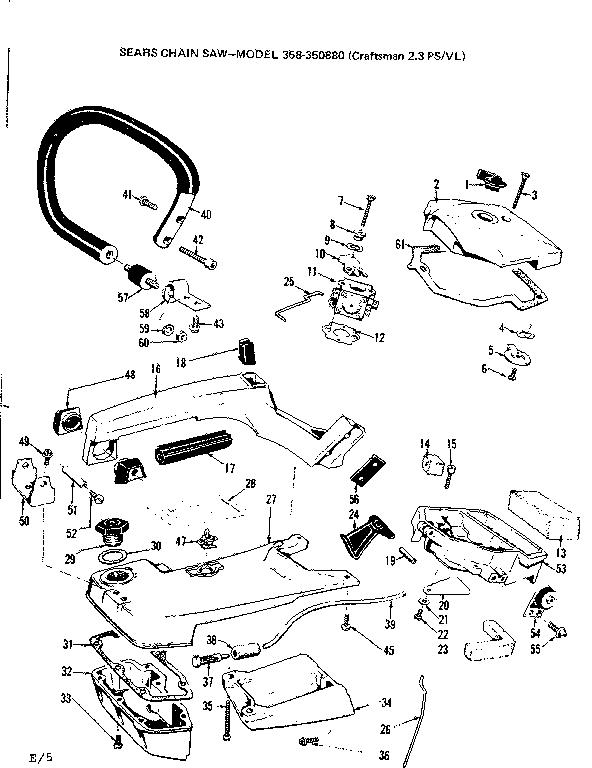 Craftsman model 358350870-1976 chainsaw, gas genuine parts