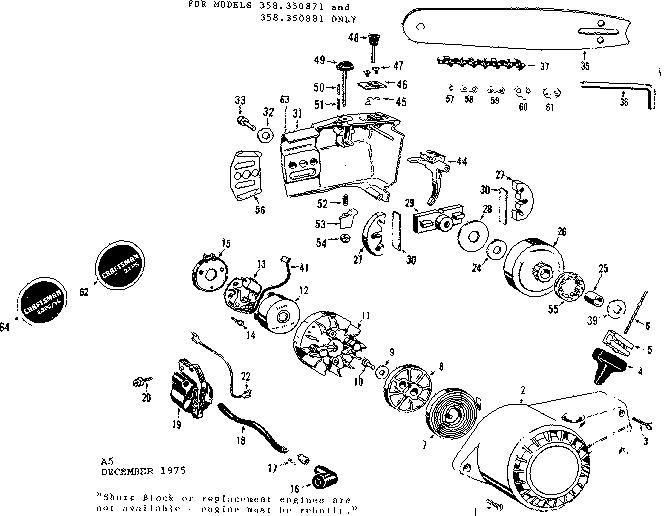 Craftsman model 358350881 chainsaw, gas genuine parts