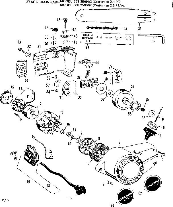 Craftsman model 358350962 chainsaw, gas genuine parts