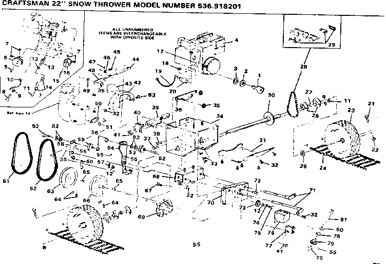 Craftsman model 536918201 snowthrower genuine parts