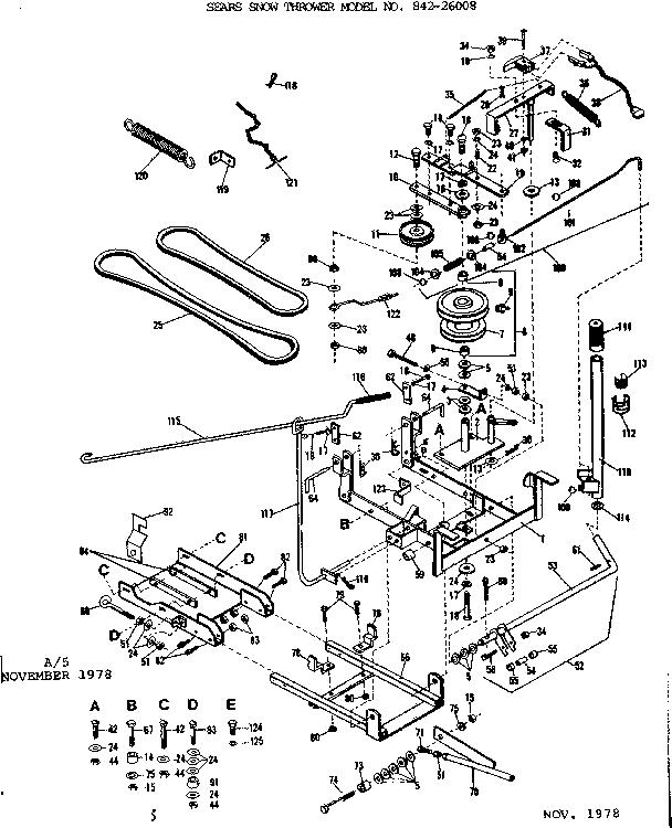 Craftsman model 84226008 snow thrower attachment genuine parts