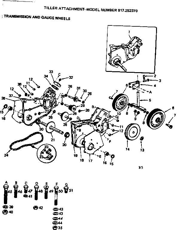 Craftsman model 917252370 tiller attachment genuine parts
