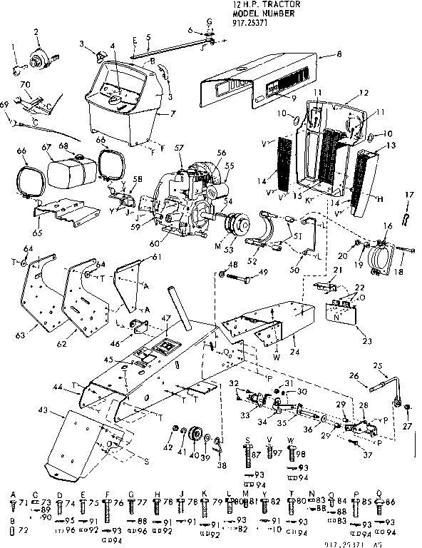 Craftsman model 91725371 lawn, tractor genuine parts