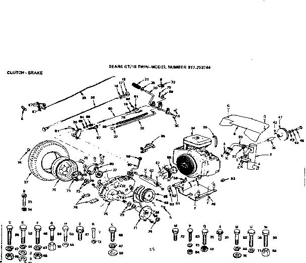 Craftsman model 917253744 lawn, tractor genuine parts