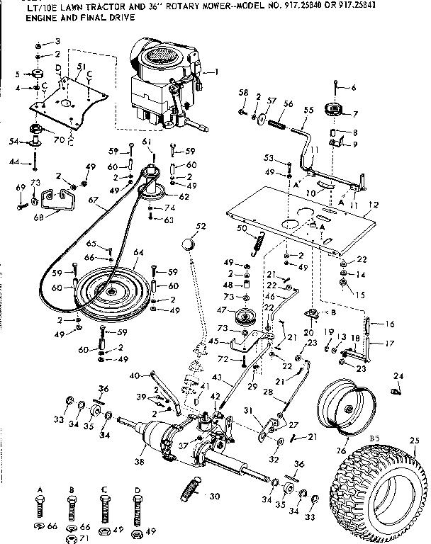 Craftsman model 91725840 lawn, tractor genuine parts