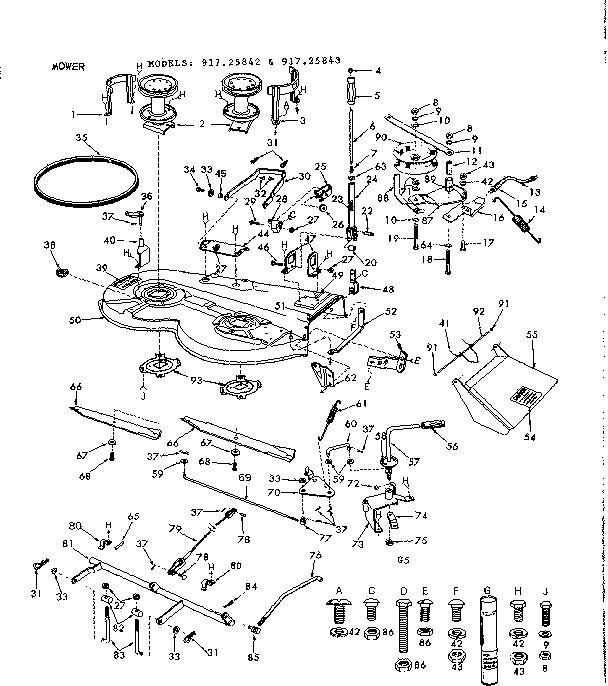 Craftsman model 91725842 lawn, tractor genuine parts