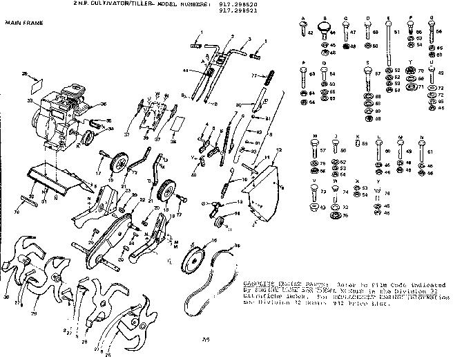 Craftsman model 917298520 tiller attachment genuine parts