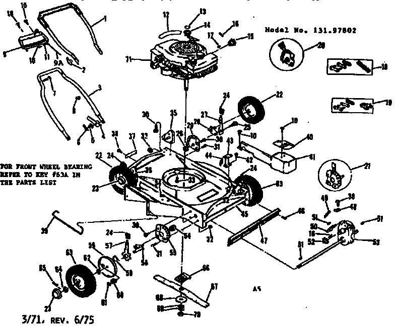 Craftsman model 13197802 lawn mower walk behind genuine parts