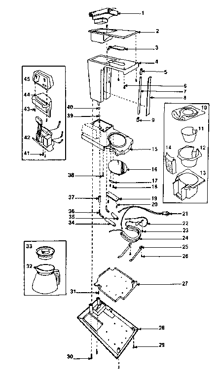 Kenmore model 360679523 coffee/tea maker genuine parts