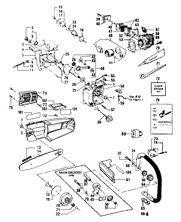 Craftsman model 358355150 chainsaw genuine parts