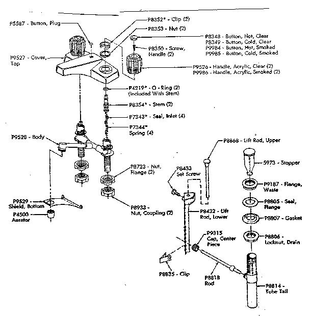 Universal-Rundle model 5243-8 faucet genuine parts